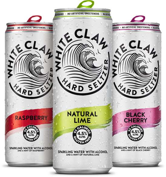White Claw is available in Raspberry, Natural Lime and Black Cherry flavours in Belgium